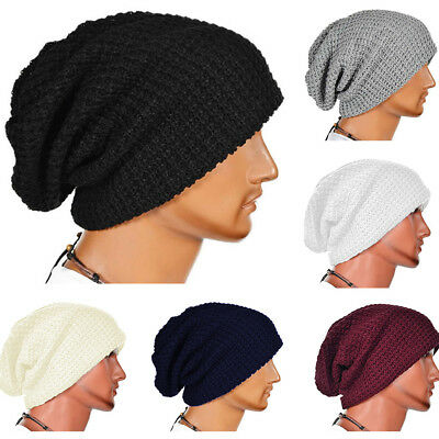 Mens Womens Unisex Slouchy Baggy Beanie Hat Sport Winter Warm Ribbed Knit Cap