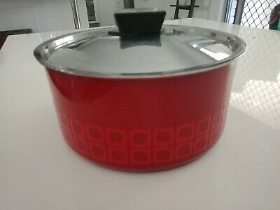 Vintage SILIT ENAMEL Retro Red Abstract Pattern Squares Heavy Saucepan RARE FIND