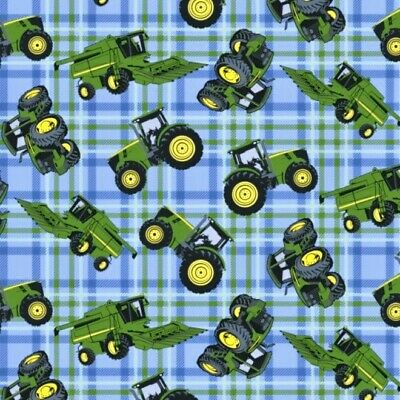 JOHN DEERE Tractors On Plaid Patchwork Cotton Sewing Quilting Fabric FQ