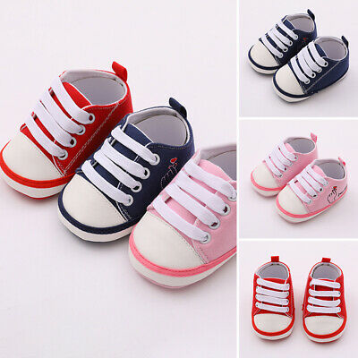 Cute Newborn Baby Boy Girl Pram Shoes Infant Sneakers Toddler Prewalker Trainers