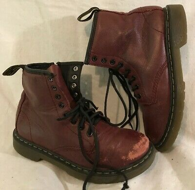 Girls Dr. Martens Maroon Leather Lovely Boots Size 32 (943v)