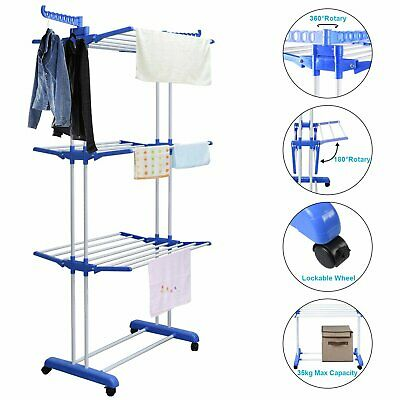 Premium Large Foldable Rolling Clothes Airer Laundry Drying Rack Stainless Rod