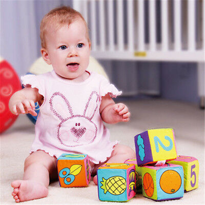 6 in 1 Set Infant Baby Cloth Educational Toys Soft Cube  RR