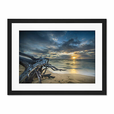 PHOTO SEASCAPE SUNSET OCEAN BOAT PIER LARGE WALL ART PRINT POSTER PICTURE LF2681