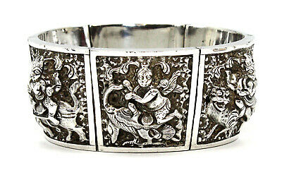Fabulous Antique Asian Burmese Repousse Sterling Silver Cuff Bangle