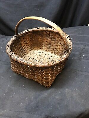 Antique New England Splint Berry Basket with Carved Wood Handle Wonderful Patina