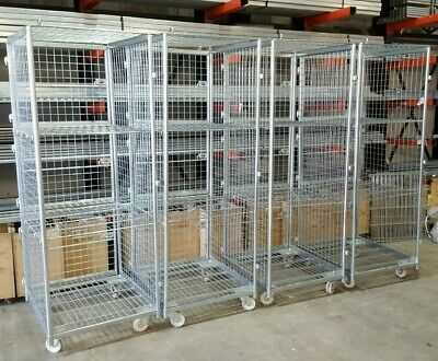 Metal Roll Cage Warehouse Retail Tool Stock Parts Bin Storage Locker Trolley