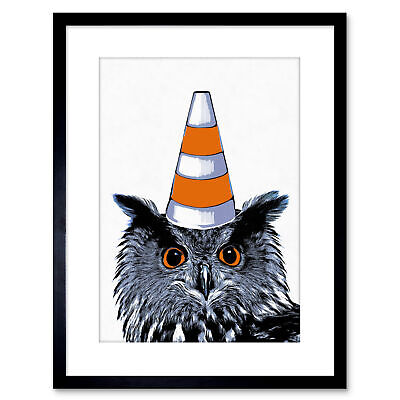 Painting Owl Wearing Traffic Cone Glasgow Style Framed Wall Art Print 9X7 In