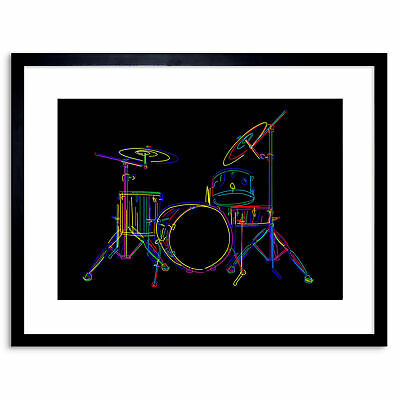 Painting Colourful Drum Kit Music Instrument Framed Wall Art Print 9X7 In