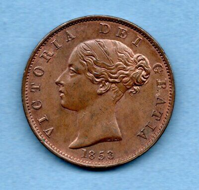 1853 Copper Halfpenny Coin. Queen Victoria. High Grade With Traces Of Lustre.