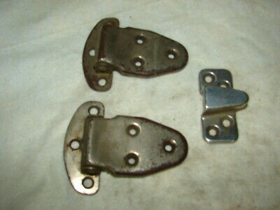 2 Antique Icebox Hinges & 1 Latch Keeper
