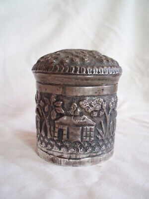 Lovely Small Vintage/Antique Eastern/Indian? Silver Coloured White Metal Pot+Lid