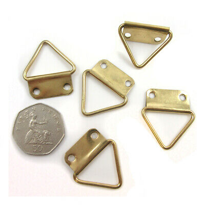 GOLD TRIANGLE 31mm x 29mm DOUBLE HOLE PICTURE HANGING FRAME HOOKS HANGER H988