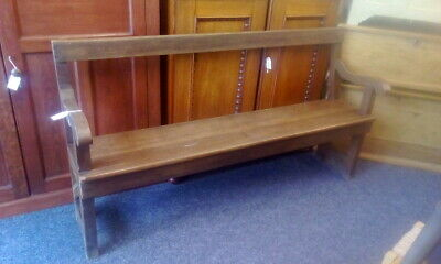 Large Antique Oak Church Bench Pew