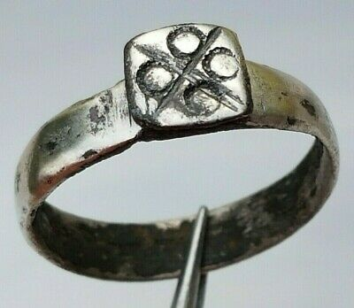 SILVER ANCIENT ROMAN RING Cross and 4 Circles
