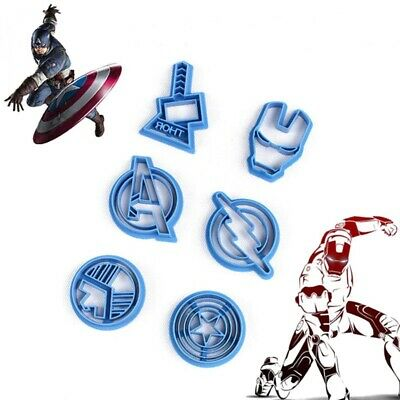 6 Pcs Avengers Superhero Cutters Sugarcraft Icing Fondant Cake Decorating UK