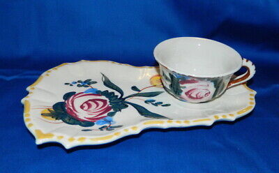 vtge NASCO LUNCHEON SNACK TRAY w CUP PLATE BOLD FLORAL HAND PAINTED Japan 40/50s