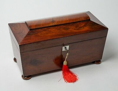 Antique Victorian Flame Mahogany Wood Tea Caddy with Glass Mixing Bowl c1850