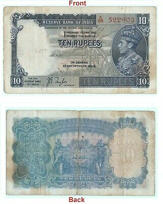 Extreme Rare 10 Rs Banknote Portrait Of king George VI JB Taylor Signed G5-61 AU