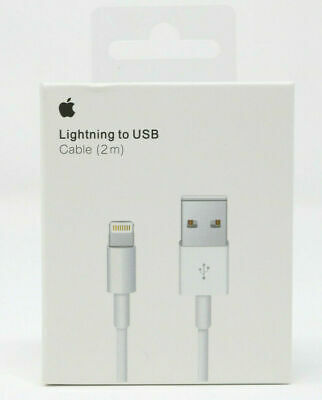 Genuine Apple Lightning USB OEM Charger 2m 6ft Cable iPhone 5s 6 7 8 X plus