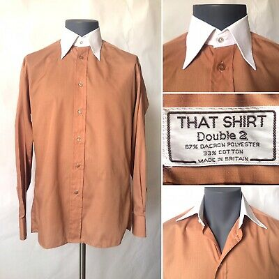 """Vintage 1970s That Shirt Double Two Brown Formal Shirt White Collar Chest 40"""" M"""