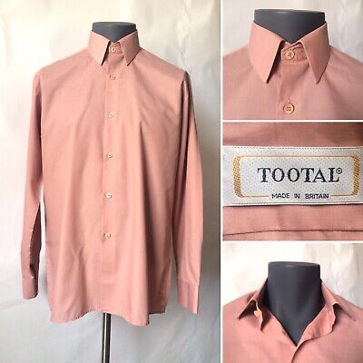 """Vintage 1970s Tootal Dusky Salmon Pink Formal Shirt Long Sleeves Chest 40-41"""" M"""