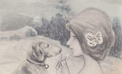 Glamour Art Nouveau Postcard - Hand Painted - Patella Girl with Dog - Wrench1911