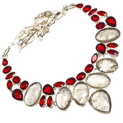 """Golden Rutile Red Garnet Necklace 925 Sterling Silver Overlay  Jewelry Sz16-18"""""""