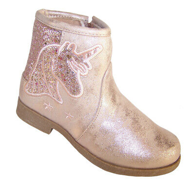 Girls Kids Child Pink Sparkly Unicorn Glitter Western Cowboy Ankle Boots Party