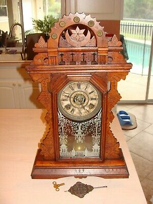 Ornate E Ingraham Co. Antique Gingerbread / Kitchen Clock with Alarm Working