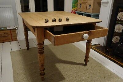 Farmhouse Antique Pine Kitchen Table With Drawer Rustic