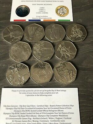 JOB LOT 10x DIFFERENT 2011 OLYMPIC SPORTS 50p FIFY PENCE CIRCULATED COINS. WED