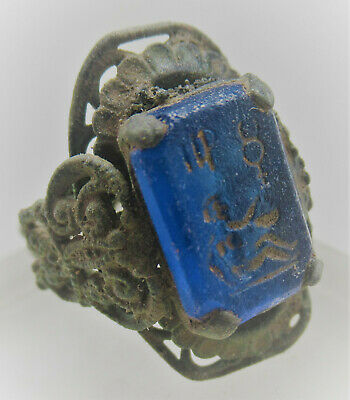 European Finds Ancient Bronze Ring With Lovely Blue Stone Intaglio Very Nice