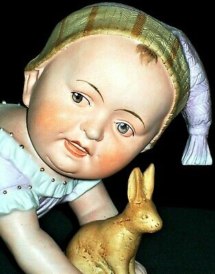 Antique German Victorian Large Piano Baby Girl Doll With Bunny Bisque Figurine