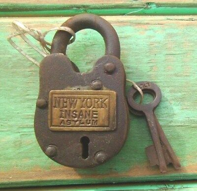 Old West Cast Iron Padlock New York Insane Asylum Lock W/2 KEYS WORKS Free Ship