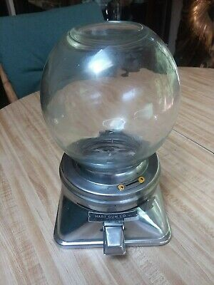 Vintage Hart Coin Op 1 Cent Gumball Machine W/ Glass Globe & Lock