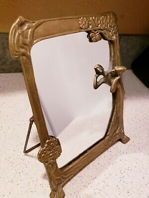"""Art Deco Nouveau Brass old Frame Mirror Stand w/ Lady Looking 12"""" x9"""" Vintage"""