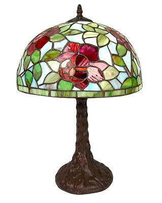 46Cm Tiffany Style Table Lamp Red Rose Design 30Cm Glass Shade + Light Bulb
