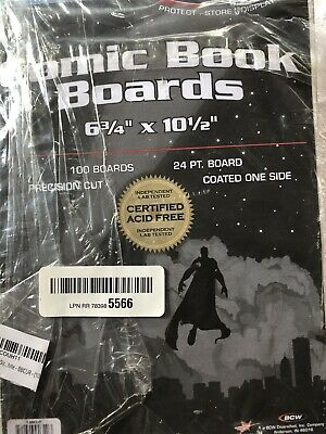 "100 - BCW Current Size 24-Pt. Comic Book Backing Boards - 6-3/4"" x 10-1/2"""