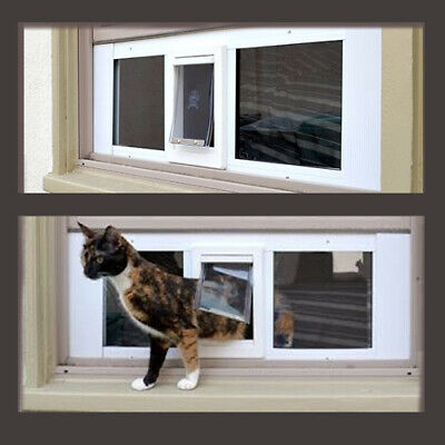 "23""-28""  WINDOW SASH Pet Cat Dog DOOR 6 1/4"" x 6 1/4"" Cat Flap"