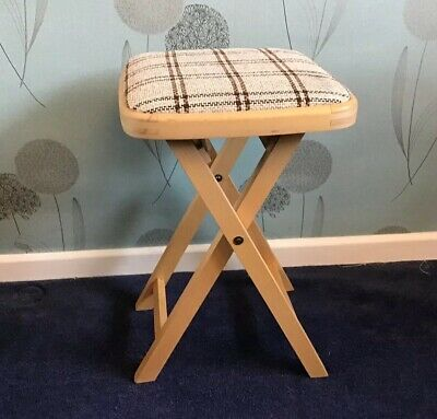 Vintage DREVOUNIA fold up wooden stool fabric seat