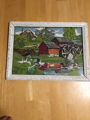 """Vintage Paint By Number Framed Mill Water Wheel 15.5 x 18.5""""  Hand-Painted Retro"""