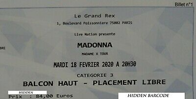 Madonna Madame X Tour Ticket 18/02/2020 - Balcon Haut - Placement Libre