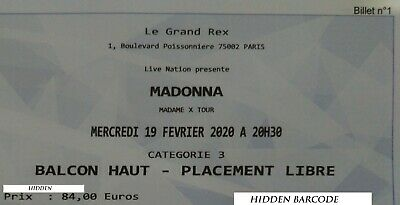 Madonna Madame X Tour Ticket 19/02/2020 - Balcon Haut - Placement Libre