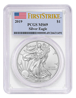 2019 American Silver Eagle Coin 1oz PCGS MS69 FIRST STRIKE FLAG LABEL Free Ship