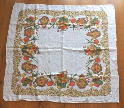 """Vtg Cotton Fall Autumn Vegetables Flowers Square Table Cloth Tablecloth 49""""x45"""""""
