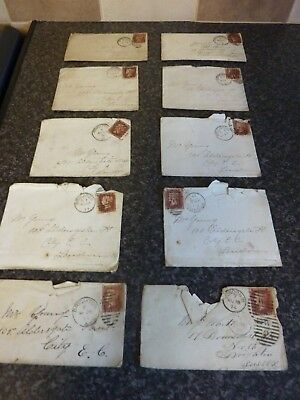 10x GB SG43/44 1D RED POSTAGE STAMPS ON 1870'S FULL ENVELOPES FINE USED