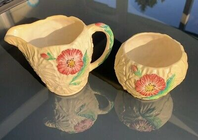 Vintage CARLTON WARE Sugar and Creamer Set Pattern 2288 Poppy Yellow