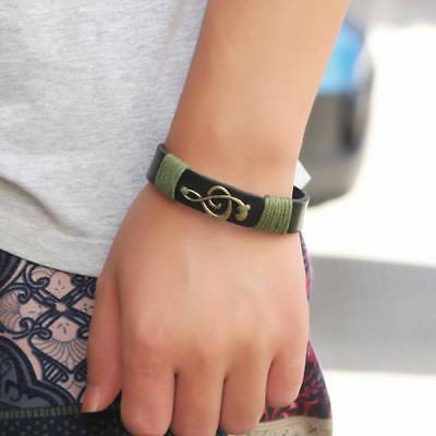 Music Note Unisex Women Men Punk Wristband Metal Studded Leather Bracelet Chic B