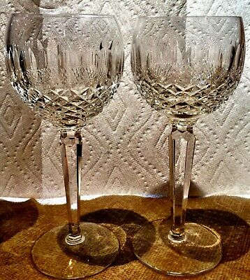 2 Waterford Cut Crystal Tall Colleen Hock Glasses. Pristine Signed